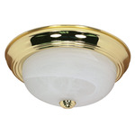 (2 Light) Flush Mount Ceiling Fixture - Polished Brass / Alabaster Glass - Nuvo Lighting 60-213