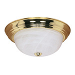 (2 Light) Flush Mount Ceiling Fixture - Polished Brass / Alabaster Glass - Nuvo Lighting 60-214