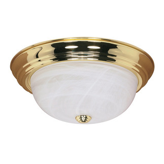 (3 Light) Flush Mount Ceiling Fixture - Polished Brass / Alabaster Glass - Nuvo Lighting 60-215