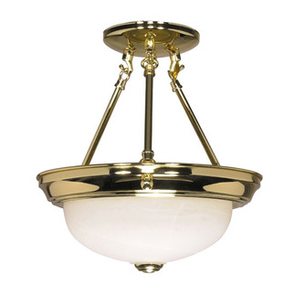 (2 Light) Semi-Flush Ceiling Fixture - Polished Brass / Alabaster Glass - Nuvo Lighting 60-216