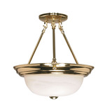 (2 Light) Semi-Flush Ceiling Fixture - Polished Brass / Alabaster Glass - Nuvo Lighting 60-217