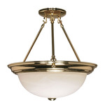 (3 Light) Semi-Flush Ceiling Fixture - Polished Brass / Alabaster Glass - Nuvo Lighting 60-218