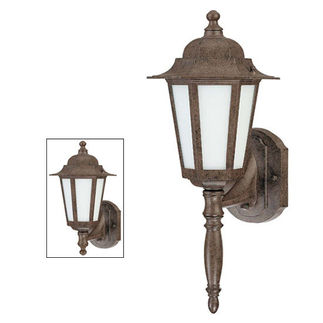 Nuvo 60-2202 (1 CFL) Wall Lantern - Old Bronze/Satin White Glass
