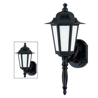 (1 CFL) Wall Lantern - Textured Black / Satin White Glass - Nuvo Lighting 60-2203