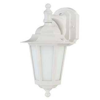 (1 CFL) Wall Lantern - White / Satin White Glass - Nuvo Lighting 60-2204