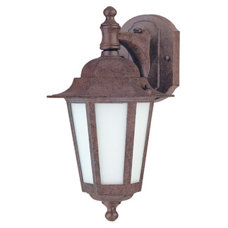 (1 CFL) Wall Lantern - Old Bronze / Satin White Glass - Nuvo Lighting 60-2205