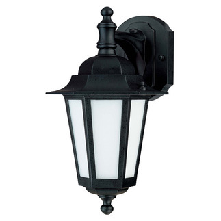 (1 CFL) Wall Lantern - Textured Black / Satin White Glass - Nuvo Lighting 60-2206