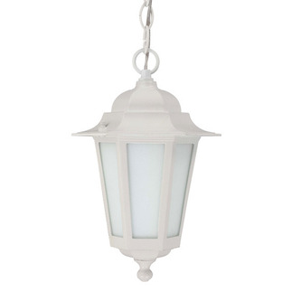 (1 CFL) Hanging Lantern - White / Satin White Glass - Nuvo Lighting 60-2207 - Residential Light Fixture
