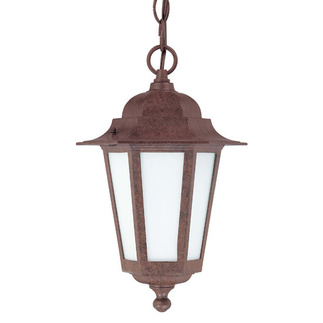 (1 CFL) Hanging Lantern - Old Bronze / Satin White Glass - Nuvo Lighting 60-2208 - Residential Light Fixture