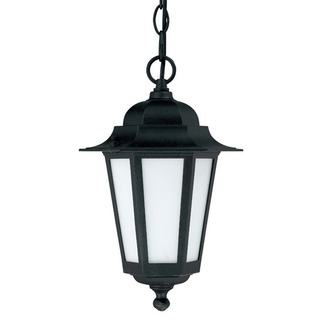 (1 CFL) Hanging Lantern - Textured Black / Satin White Glass - Nuvo Lighting 60-2209