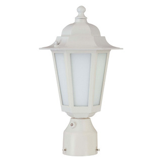 (1 CFL) Post Lantern - White / Satin White Glass - Nuvo Lighting 60-2211