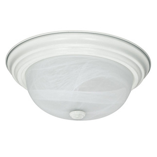 (2 Light) Flush Mount Ceiling Fixture - Textured White / Alabaster Glass - Nuvo Lighting 60-222