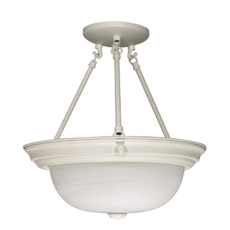 (2 Light) Semi-Flush Ceiling Fixture - Textured White / Alabaster Glass - Nuvo Lighting 60-225