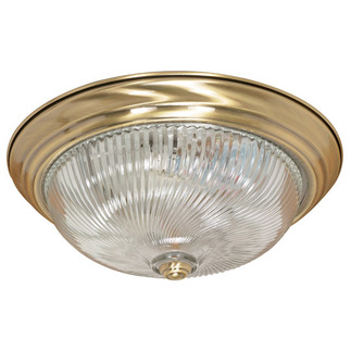 (3 Light) Flush Mount Ceiling Fixture - Antique Brass / Clear Swirl Glass - Nuvo Lighting 60-231