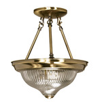 (2 Light) Semi-Flush Ceiling Fixture - Antique Brass / Clear Swirl Glass - Nuvo Lighting 60-232