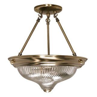 (2 Light) Semi-Flush Ceiling Fixture - Antique Brass / Clear Swirl Glass - Nuvo Lighting 60-233 - Residential Light Fixture