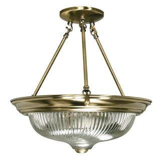 (3 Light) Semi-Flush Ceiling Fixture - Antique Brass / Clear Swirl Glass - Nuvo Lighting 60-234 - Residential Light Fixture