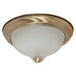 (2 Light) Flush Mount Ceiling Fixture - Antique Brass / Frosted Swirl Glass - Nuvo Lighting 60-237