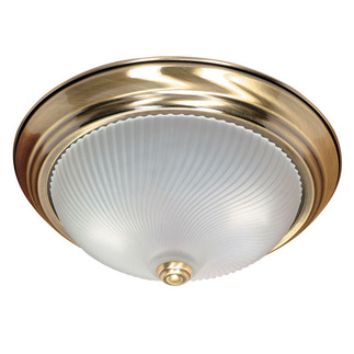 (2 Light) Flush Mount Ceiling Fixture - Antique Brass / Frosted Swirl Glass - Nuvo Lighting 60-238