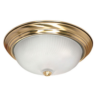 (3 Light) Flush Mount Ceiling Fixture - Antique Brass / Frosted Swirl Glass - Nuvo Lighting 60-239
