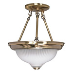 (2 Light) Semi-Flush Ceiling Fixture - Antique Brass / Frosted Swirl Glass - Nuvo Lighting 60-240 - Residential Light Fixture