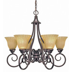 (6 CFL) Chandelier - Copper Bronze / Champagne Linen Glass - Energy Star Qualified - Nuvo Lighting 60-2403