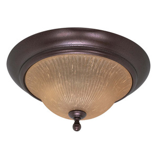 (2 CFL) Flush Mount - Copper Bronze / Champagne Linen Glass - Energy Star Qualified - Nuvo Lighting 60-2406
