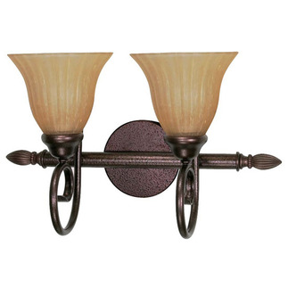 (2 CFL) Vanity - Copper Bronze / Champagne Linen Glass - Energy Star Qualified - Nuvo Lighting 60-2412