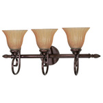 (3 CFL) Vanity - Copper Bronze / Champagne Linen Glass - Energy Star Qualified - Nuvo Lighting 60-2413
