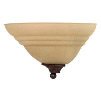(1 CFL) Wall Fixture - Old Bronze / Amber Water Glass - Energy Star Qualified - Nuvo Lighting 60-2419