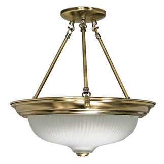 (3 Light) Semi-Flush Ceiling Fixture - Antique Brass / Frosted Swirl Glass - Nuvo Lighting 60-242 - Residential Light Fixture