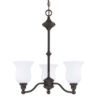 (3 CFL) Chandelier - Sudbury Bronze / Satin White Glass - Energy Star Qualified - Nuvo Lighting 60-242