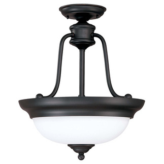 (3 CFL) Semi-Flush Ceiling Fixture - Sudbury Bronze / Satin White Glass - Energy Star Qualified - Nuvo Lighting 60-2429