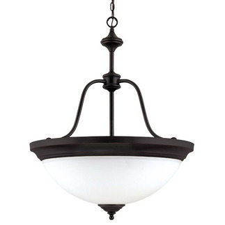 (4 CFL) Large Pendant - Sudbury Bronze / Satin White Glass - Energy Star Qualified - Nuvo Lighting 60-2431