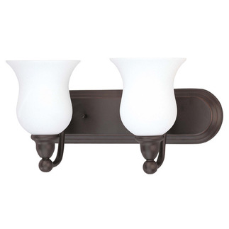 (2 CFL) Vanity - Sudbury Bronze / Satin White Glass - Energy Star Qualified - Nuvo Lighting 60-2438