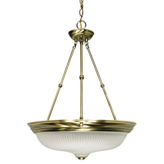 (3 Light) Pendant - Antique Brass / Frosted Swirl Glass - Nuvo Lighting 60-244 - residential light fixture