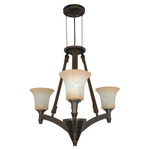 (3 CFL) Chandelier - Golden Umber / Burnt Sienna Glass - Energy Star Qualified - Nuvo Lighting 60-2445