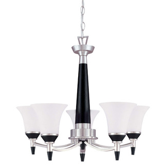 (5 CFL) Chandelier - Nickel & Black / Satin White Glass - Energy Star Qualified - Nuvo Lighting 60-2455