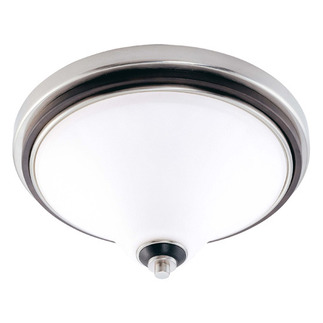 (2 CFL) Flush Mount Ceiling Fixture - Nickel & Glass / Satin White Glass - Energy Star Qualified - Nuvo Lighting 60-2459