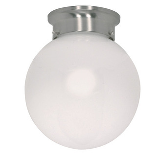 (1 Light) Ceiling Mount Ball Fixture - Brushed Nickel / White Glass - Nuvo Lighting 60-246