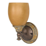 (1 CFL) Vanity - Dorado Bronze / Sepia Colored Glass - Energy Star Qualified - Nuvo Lighting 60-2475 - Residential Light Fixture
