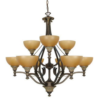 (9 CFL) Chandelier - Dorado Bronze / Sepia Colored Glass - Energy Star Qualified - Nuvo Lighting 60-2479