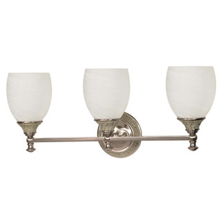 (3 CFL) Vanity - Brushed Nickel / Alabaster Swirl Glass - Energy Star Qualified - Nuvo Lighting 60-2483