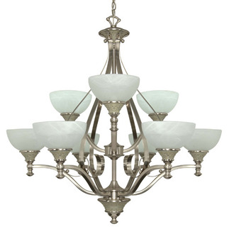 (9 CFL) Chandelier - Brushed Nickel / Alabaster Swirl Glass - Energy Star Qualified - Nuvo Lighting 60-2486