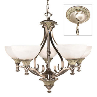 (5 CFL) Chandelier - Brushed Nickel / Alabaster Swirl Glass - Energy Star Qualified - Nuvo Lighting 60-2488