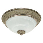 (2 CFL) Flush Mount Ceiling Fixture - Brushed Nickel / Alabaster Swirl Glass - Energy Star Qualified - Nuvo Lighting 60-2489