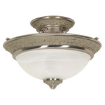 (2 CFL) Semi-Flush Ceiling Fixture - Brushed Nickel / Alabaster Swirl Glass - Energy Star Qualified - Nuvo Lighting 60-2491