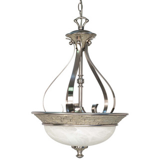 (3 CFL) Pendant - Brushed Nickel / Alabaster Swirl Glass - Energy Star Qualified - Nuvo Lighting 60-2492
