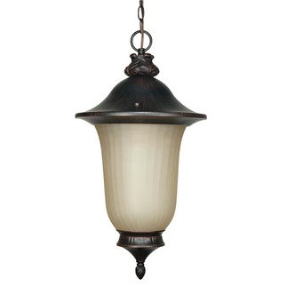 (1 Light) Hanging Lantern - Old Penny Bronze / Champagne Glass - Nuvo Lighting 60-2509 - Residential Light Fixture