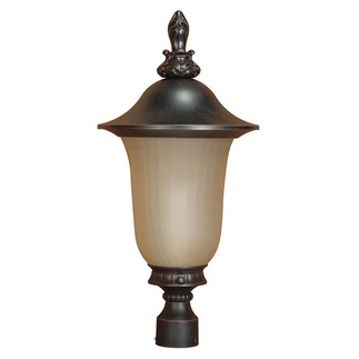 (1 Light) Post Lantern - Old Penny Bronze / Champagne Glass - Nuvo Lighting 60-2511
